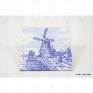 Delft Blue Tile Farmer with wheelbarrow