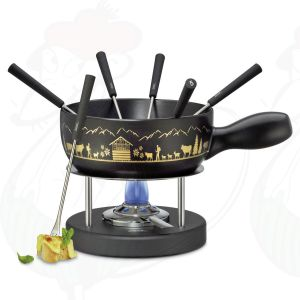 Cheese Fondue Set Montana - Black - Gold