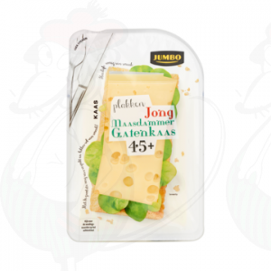 Sliced Maasdammer Holey Cheese Young 45+ | 190 grams in slices